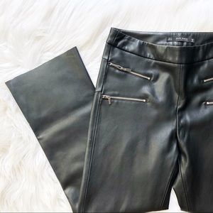 Zara Faux Leather Zipper Pants